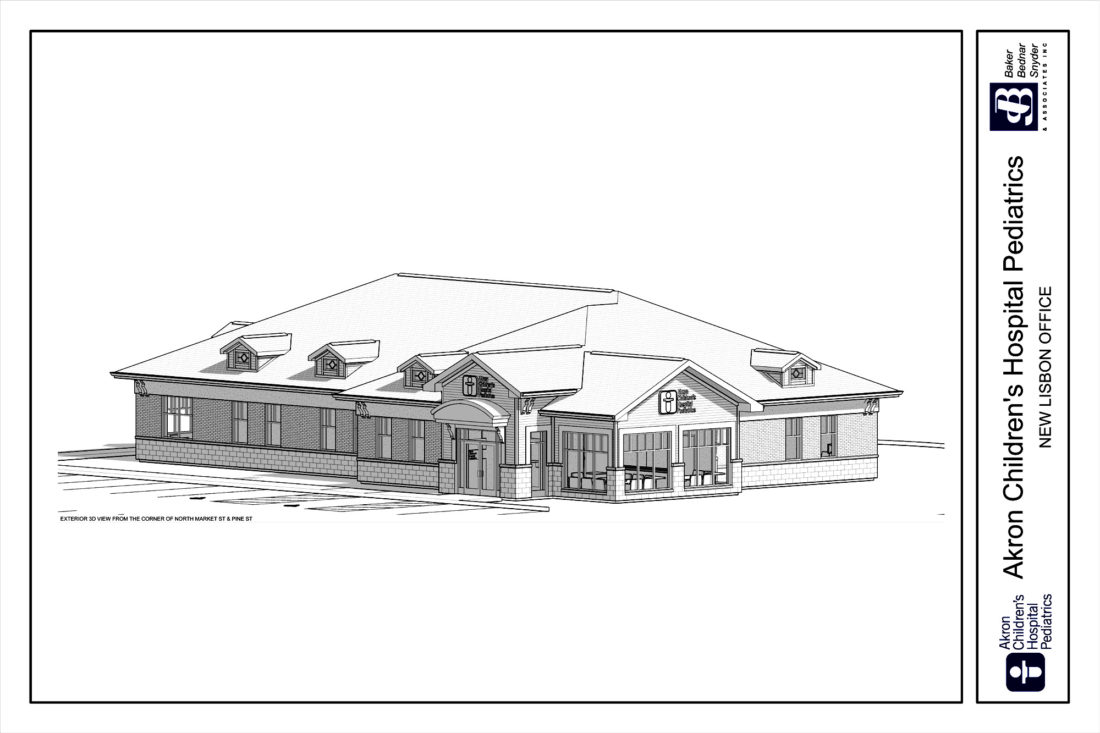 Akron Children's Hospital is planning to construct a building that will look like this onto this empty lot in Lisbon.