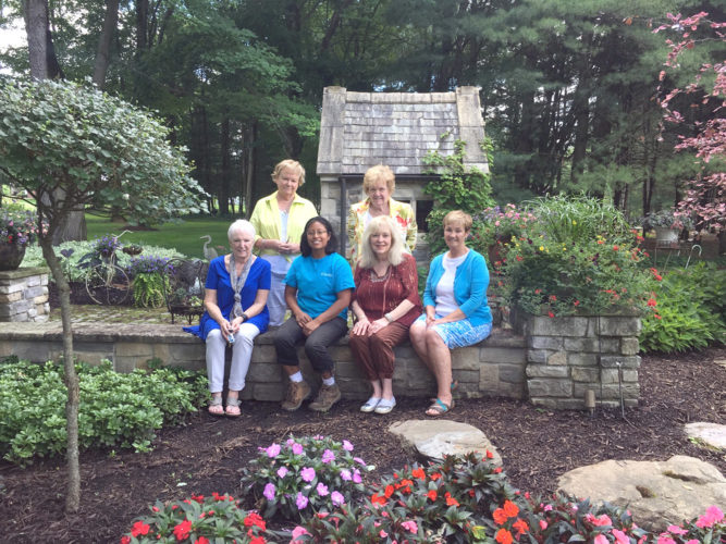 "Submitted photo Columbiana Women's Club members (front, from left) Donna Bekar, Jenell Martin, Kathy Reash, Vaughn Musser, (back) Bobbi Hughes and Pat Tingle will host ""Dishin'Dirt"" from 11 a.m. to 2 p.m. July 8 at the Gardens at Hippley Village. Keith Kaiser, horticulture consultant, will create a garden container which will be auctioned at the event. Attendees will walk the garden that was created by John Hippley. The cost is $25 and will include a box lunch. To make reservations call 482-2832 or Donna Bekar at 482-2267."
