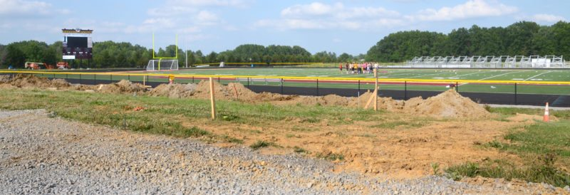 Work is ongoing at South Range's Rominger Sports Complex. A stadium open house and 'Meet the Team' program is slated for 7:30 p.m. on Aug. 12. Fireworks will follow.