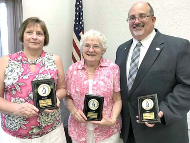 Morning Journal/Jo Ann Bobby-Gilbert Voice of Hope Recognition Awards for 2016 were presented by the Catholic Charities Regional Agency in East Liverpool to (from left): Janice Carter, Community Support Award, Emmanuel Presbyterian Church; Leah Bosco, Community Support Award, Ethel Chambers Service Group; and Director Joseph Rossi, Organizational Support Award, Area Agency on Aging 11.