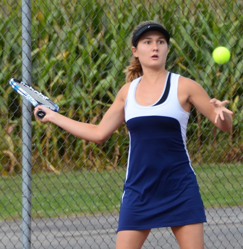 Morning Journal/Patti Schaeffer United's Grace Maroscher waits for the ball in her first singles match against Isabella McLaughlin on Wednesday.