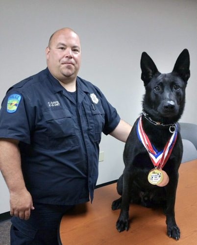Submitted photo With retirement on the horizon for St. Clair Township K-9 Officer Axel, his handler Patrolman Chris Davis and other township officers are beginning a fundraising campaign to purchase a second canine.