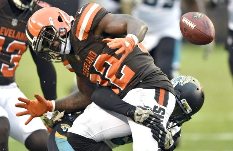 Cleveland Browns safety Jabrill Peppers (22) fumbles a punt in the second half of an NFL football game against the Jacksonville Jaguars, Sunday, Nov. 19, 2017, in Cleveland. The Jaguars recovered the ball. (AP Photo/David Richard)