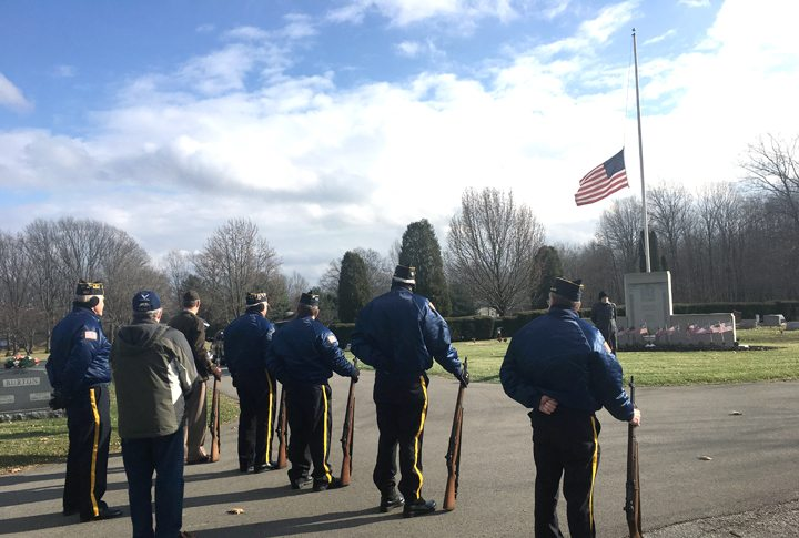 Morning Journal/Katie White The Benjamin Firestone American Legion Post 290 took time to honor those who lost their lives at  Pearl Harbor on the 76th anniversary of the attack. A brief ceremony was held in the Columbiana Cemetery to coincide with the timing of the attack, which happened at 12:55 p.m.