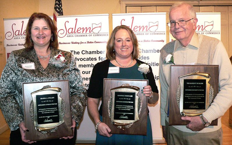 Morning Journal/Mary Ann Greier The Salem Area Chamber of Commerce honored Outstanding Citizen of the Year Shawna L'Italien, Business of the Year Essential Vision Care and Non-Profit Organization of the Year the Banquet in Salem during the 71st annual chamber meeting Wednesday afternoon at Salem Golf Club. Pictured from left are honorees L'Italien, Essential Vision Care owner Dr. Rebecca Brown and Rev. William Wilkins of the Banquet in Salem.