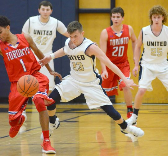 United's Dakota Hill and Toronto's Trillion West (left) converge on the ball Tuesday night. Looking on are United's Alex Birtalan (42), Toronto's Lucas Gukzynski (20) and United's Landon Baker (25). (Morning Journal/Patti Schaeffer)