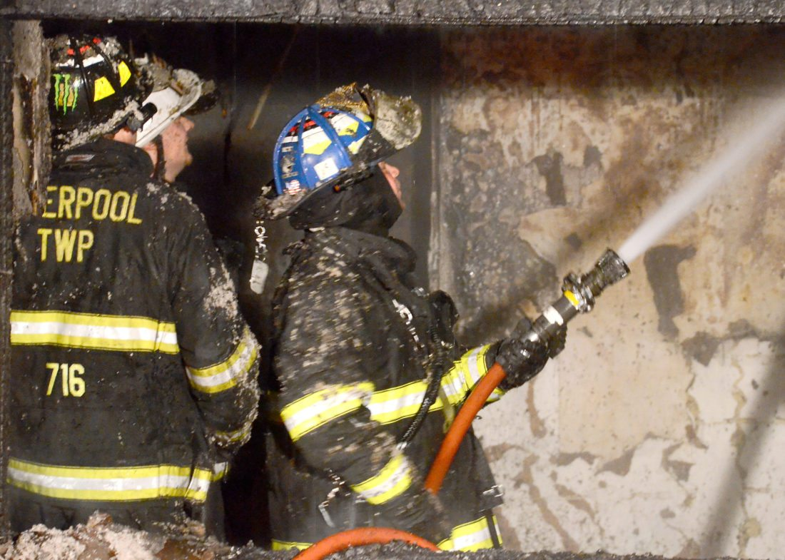 Morning Journal/Patti Schaeffer Liverpool Township            stations 7 and 8 firefighters converged on a house engulfed in flames at 1107 Anderson Boulevard around 11:45 p.m. Thursday. No one was home at the time of the fire, and Fire Chief Dave Ward is investigating the cause of the blaze. No one was injured in the blaze.