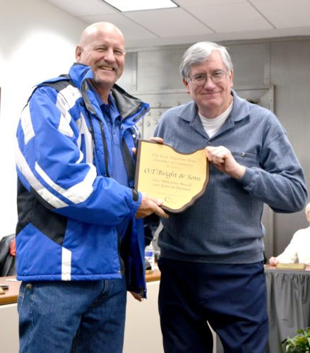 Submitted photo John Davis presents Eric Beight of O.T. Beight & Sons a Milestone and Business Development award.