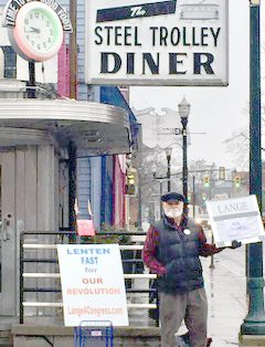 Submitted photo Werner Lange, Democratic candidate for the 6th Congressional District, will host a meet the candidate event at the Lepper Library in Lisbon at 4 p.m. Feb. 27. Lange is shown here while campaigning in the village Monday.