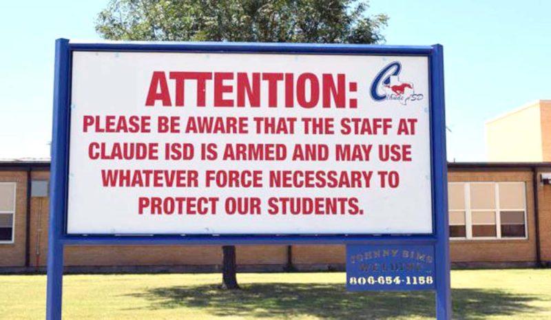Creede Newton/Amarillo Globe-News via AP This school in Claude, Texas, arms its teachers.