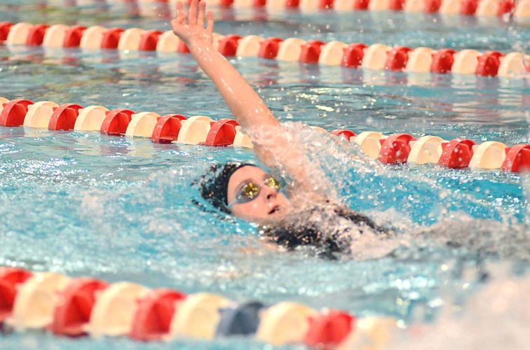 Morning Journal/Patti Schaeffer West Branch sophomore Jamyson Robb swims in the Division II 200-individual medley at the state meet Thursday.