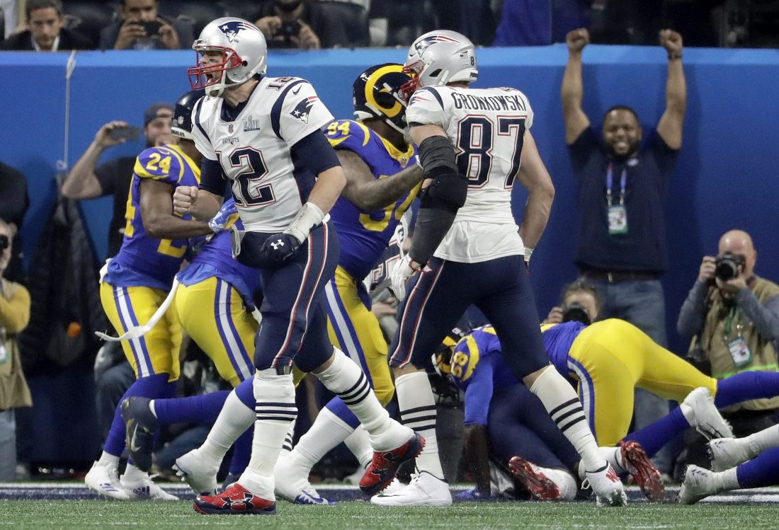 055046a82bd New England Patriots  Tom Brady (12) celebrates a touchdown run by Sony  Michel during the second half of the NFL Super Bowl 53 football game  against the Los ...