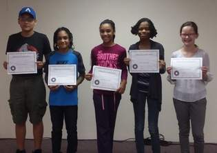 Dupree Memorial Church Middle School Math Contest top finishers were, from left, Douglas Trujillo, fifth; Brian Waltz, second; Taylor O'Neal, third; Kiara Kelly-Smith, fourth; and Hannah Offhaus, first place.