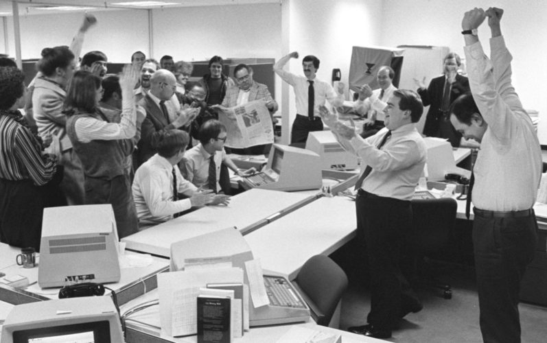 April 18, 1983 - Members of The News-Sentinel staff celebrate the announcement of the 1982 Pulitzer Prize for General Local Reporting.