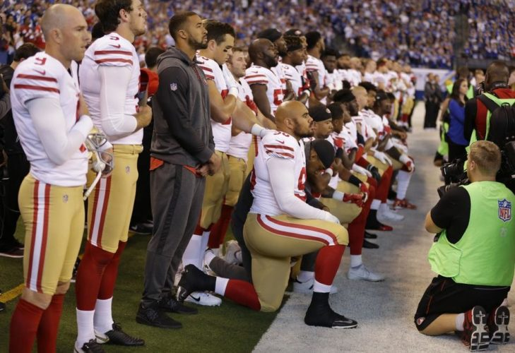 Several members of the San Francisco 49ers refused to stand during the national anthem before Sunday's game with the Colts in Indianapolis, prompting Vice President Mike Pence to walk out.