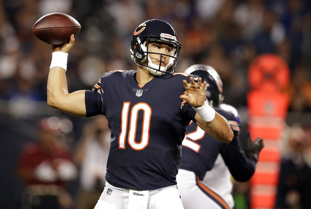 Chicago Bears quarterback Mitchell Trubisky (10) throws a pass during the first half of Monday's game against the Minnesota Vikings in Chicago. Trubisky made a promising debut for the Bears. He also showed he has room to grow. (Associated Press photo)