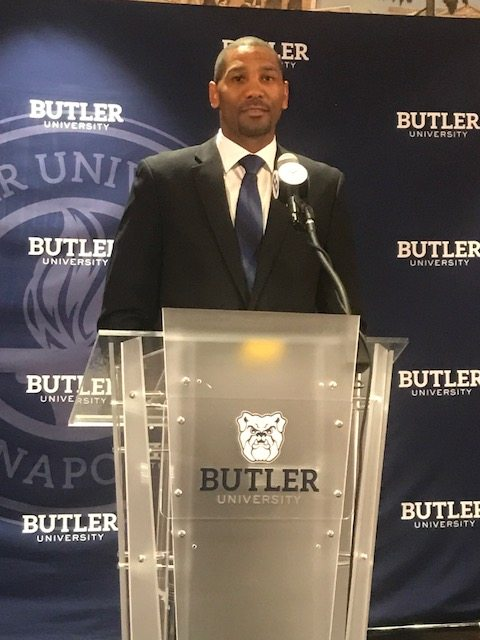 Butler men's basketball coach LaVall Jordan speaks to a group at Hinkle Fieldhouse during his introductory press conference in June in Indianapolis. (By Tom Davis of The News-Sentinel)