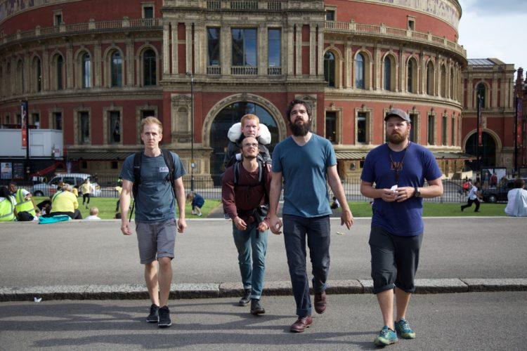 From  left to right. Ben Duvall, Kevan Chandler carried by Philip Keller, Tom Troyer, Robbie Barnes during the group's visit to London last summer. Prince Albert Hall is behind them. (Courtesy photo)