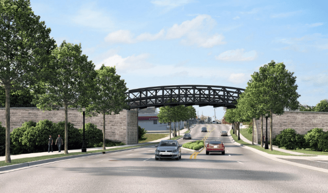 The planned Pufferbelly Trail from northern Allen County to the Rivergreenway will stretch 13 miles, including a bridge over State Boulevard near Wells Street. (Courtesy illustration)
