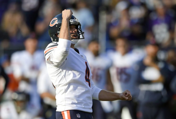 Chicago Bears kicker Connor Barth reacts after kicking the game-winning field goal in an overtime period of an NFL football game against the Baltimore Ravens, Sunday. (Associated Press photo)