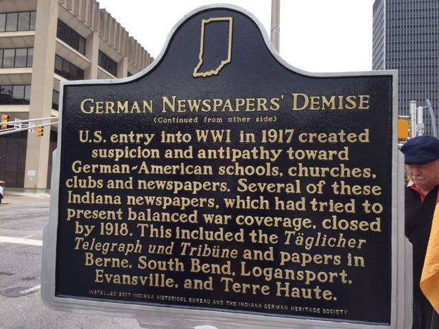 Fort Wayne isn't mentioned on the second side of the historical marker, which lists other cities where German-language newspapers folded during World War I. (Courtesy photo)