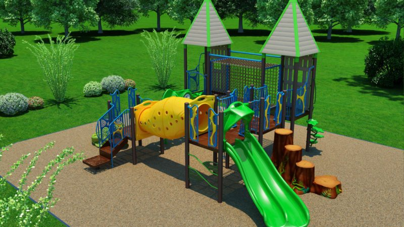 The proposed new playground equipment includes a small tunnel and two-lane slide. (Courtesy illustration)