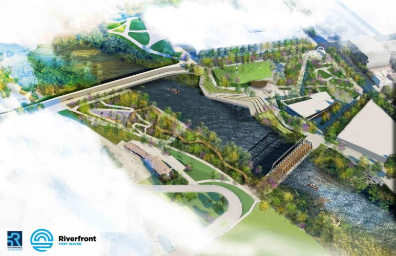 This aerial view shows the proposed Phase I of Fort Wayne's downtown riverfront development project, which now is under construction. (Courtesy illustration)
