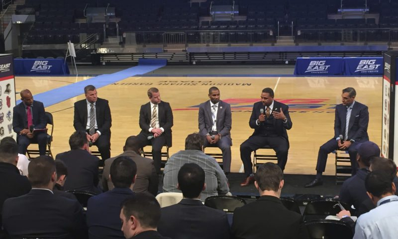 From left to right, moderator Tarik Turner Moderator; Creighton coach Greg McDermott; Marquette coach Steve Wojciechowski; Butler coach LaVall Jordan; Providence coach Ed Cooley and Villanova coach Jay Wright chat during Big East media day in New York Wednesday. (By The Associated Press)