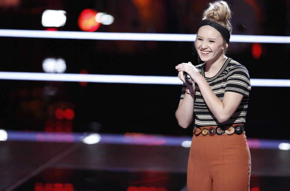 "Fort Wayne's Addison Agen lost her battle round competition on Monday's edition of ""The Voice,  but a double steal kept her hopes alive.  (Courtesy of NBC)"