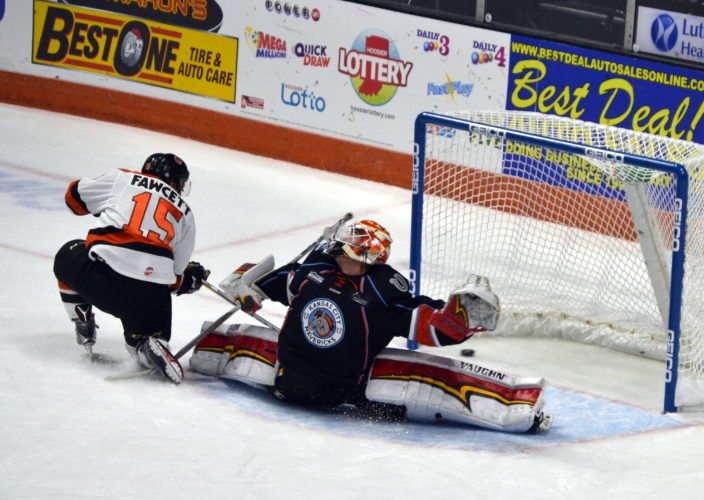 Tyson Fawcett scores on a breakaway for Fort Wayne's second goal. (By Blake Sebring of News-Sentinel.com)