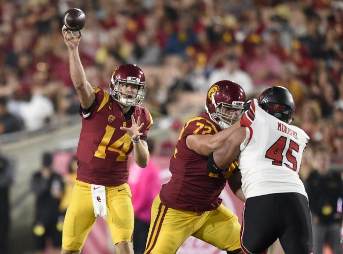 USC quarterback Sam Darnold (14) makes a throw during the first half of a recent game against Utah in Los Angeles. (By The Associated Press)