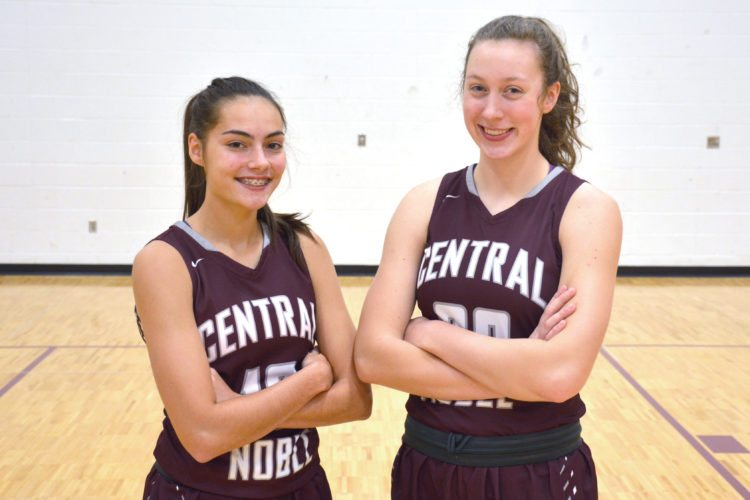 Central Noble sophomores Sydney Freeman and Meleah Leatherman. (Photo by Dan Vance of news-sentinel.com)