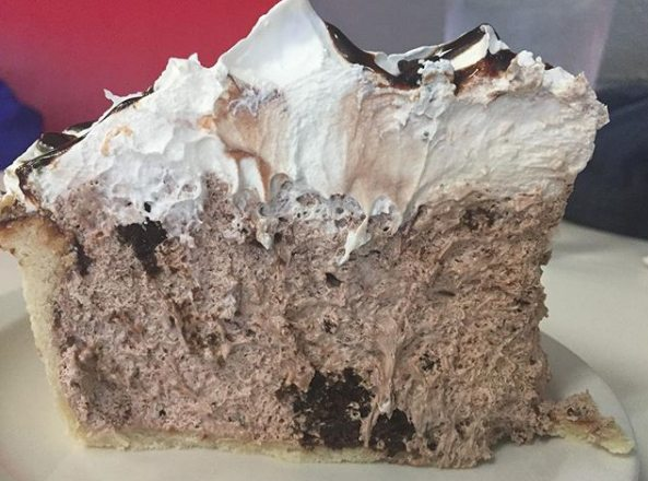 Chocolate cream pie, this one with bits of brownie, at Chrome Plated Diner. (Photo by Lisa M. Esquivel Long of news-sentinel.com)