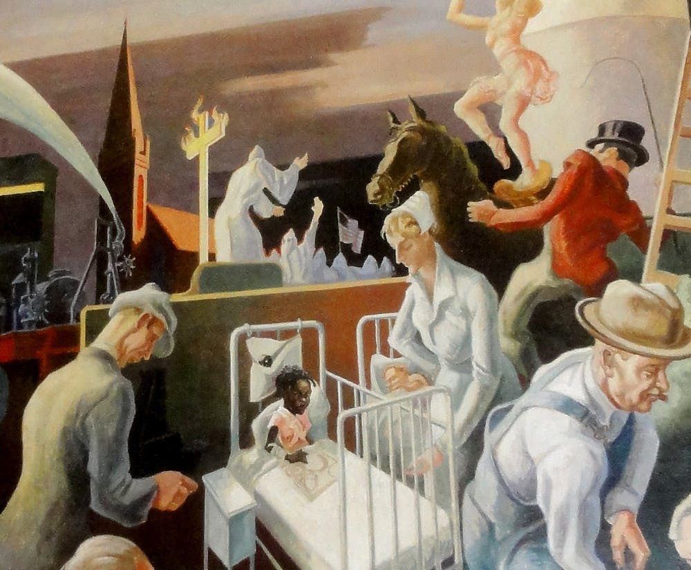 A detail from the controversial panel of Benton's mural.  (Bart Everson)