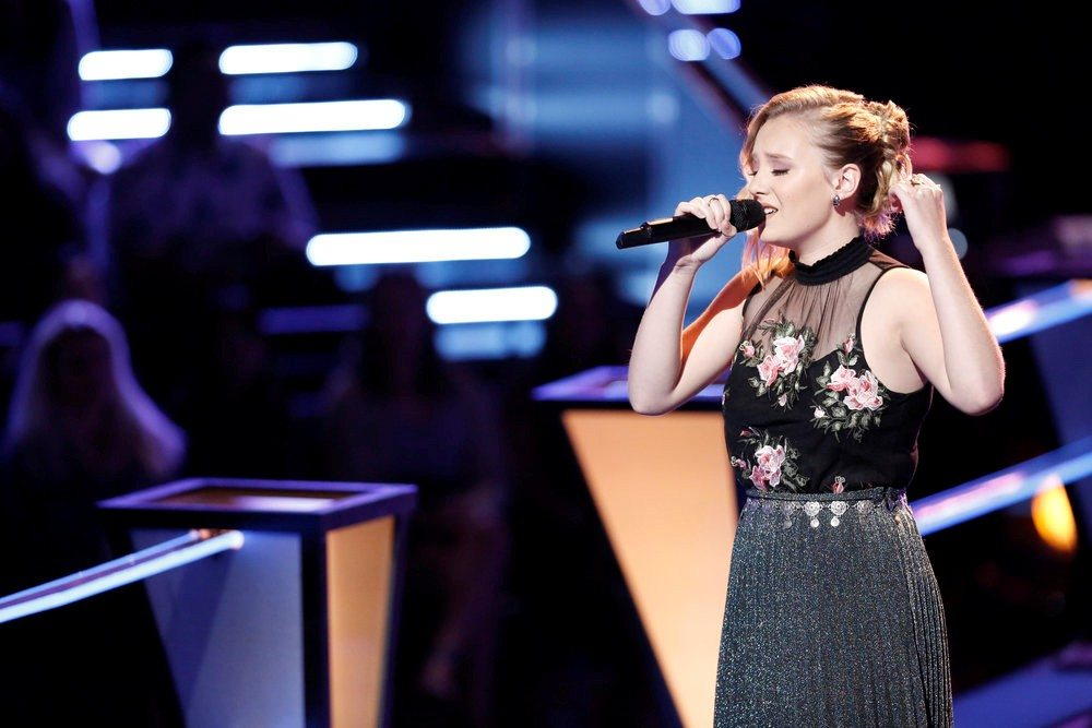 "Addison Agen of Fort Wayne won a spot in the Top 20 contestants by winning her knockout round performance Oct. 30 on ""The Voice.""  (Photo by Tyler Golden of NBC)"
