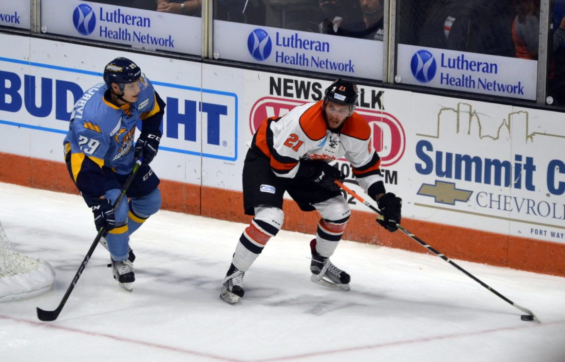 New Komets forward Marco-Olivier Roy leads the team in scoring after four games with two goals and five points. (By Blake Sebring of News-Sentinel.com)