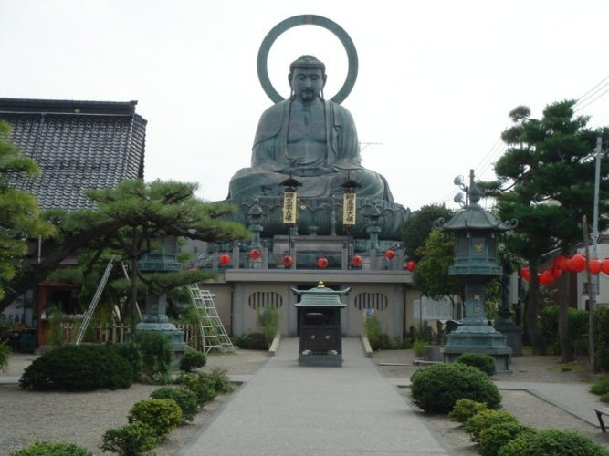 Takaoka, Japan (sister city since 1977). Pictured is the Great Buddha of Takaoka., Reaching a height of nearly 53 feet, the Great Buddha of Takaoka is the third largest in Japan.