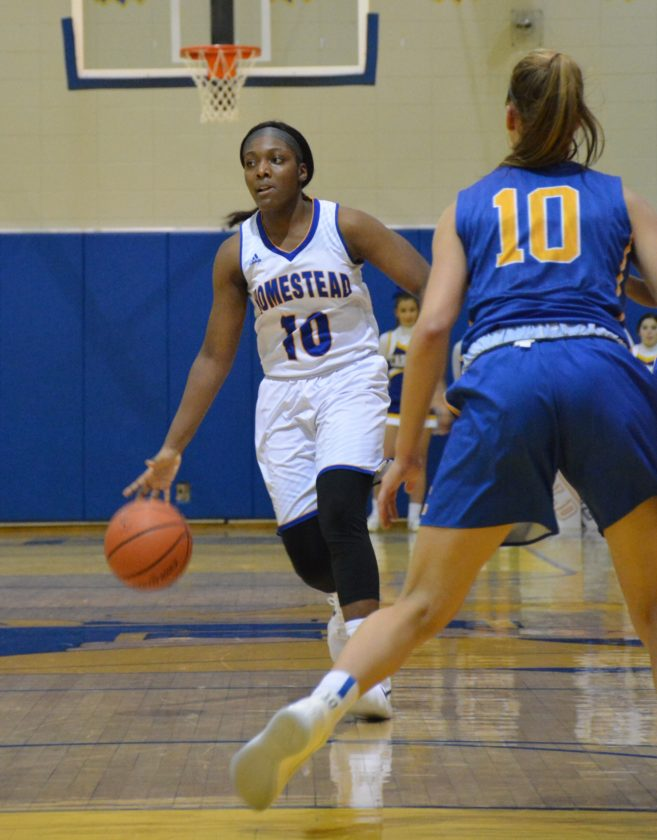 Homestead junior Sylare Starks brings the ball up the court Saturday afternoon in a loss to Carmel. Starks scored 20 points in the loss. (Photo by Justin Kenny of news-sentinel.com)