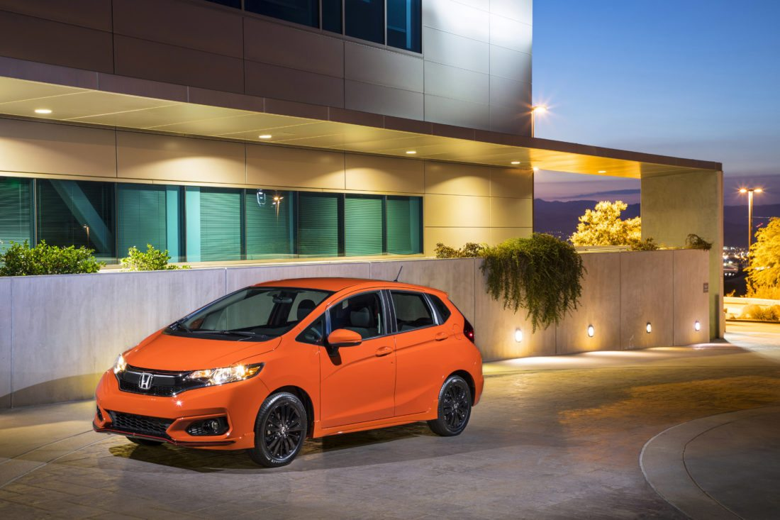 This photo provided by Honda shows the 2018 Honda Fit, a subcompact car with impressive cargo capacity and versatility. This year, the Fit has been updated with more technology, active safety features and driver aids. (Wes Allison/American Honda Motor Co. Inc. via AP)