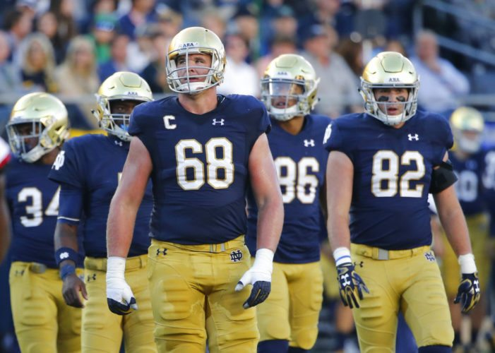 Notre Dame offensive line Mike McGlinchey (68) and the Irish offensive line will be key in Saturday's showdown at undefeated Miami. (From The Associated Press)