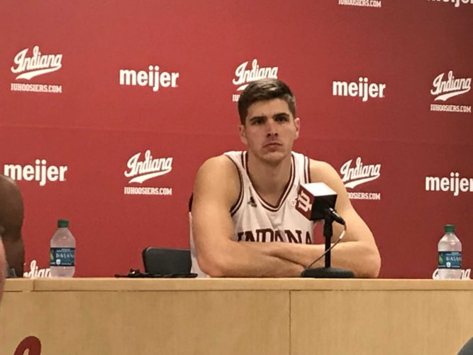 Indiana graduate student forward Collin Hartman speaks with the media following a recent game at Assembly Hall in Bloomington. He is the lone Indiana native on scholarship with the program this season. (By Tom Davis of News-Sentinel.com)