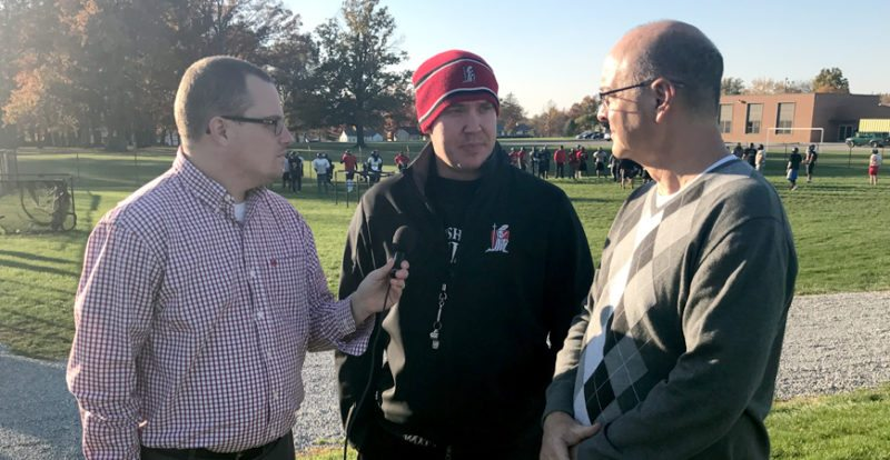 News-Sentinel's Justin Kenny and Reggie Hayes joined by Bishop Luers coach Kyle Lindsay. (By Dan Vance of The News-Sentinel)