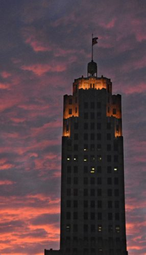 The previous lighting on the top six floors of Lincoln Tower, pictured here, has been replaced with a special system of LED lights that can be programmed to shine in various colors to celebrate holidays. The system will debut at dusk Saturday with red, white and blue to salute   U.S. military veterans for Veterans Day. (News-Sentinel.com file photo)