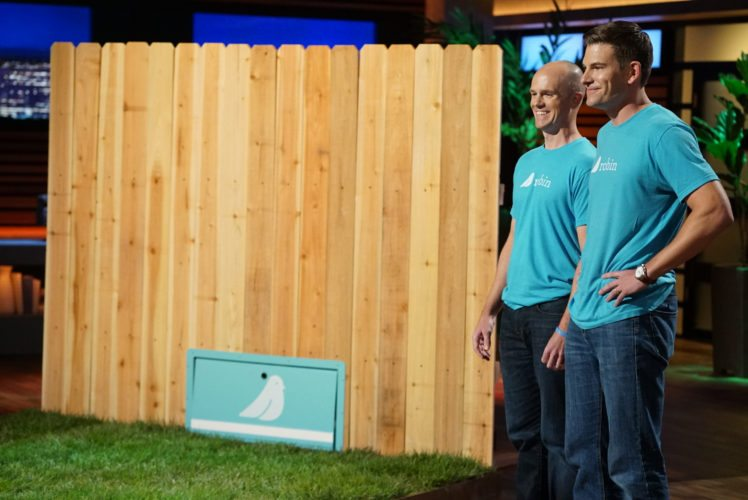 """Justin Crandall, left, and Allen County native Bart  Lomont went on """"Shark Tank"""" to lure the Sharks with their high-tech Robin Autopilot lawn service. (Photo courtesy of ABC)"""