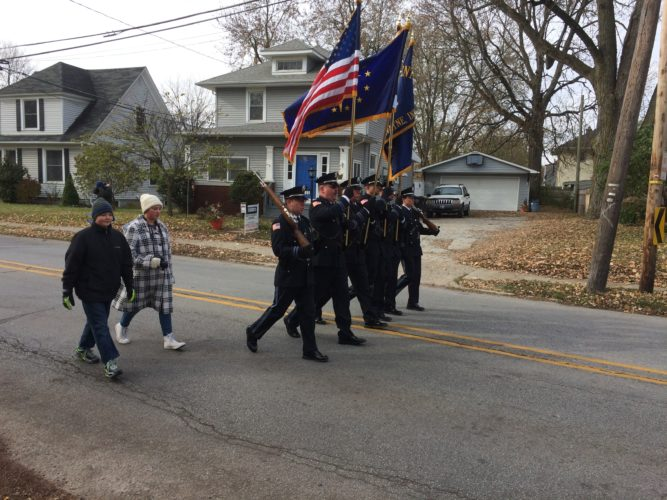 Several color guard groups were among the units marching in the annual Veterans Day parade Saturday on Parnell Avenue, from north of State Boulevard to Memorial Coliseum. (By Kevin Kilbane of News-Sentinel.com)
