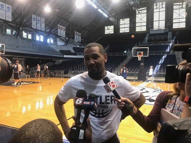 First-year Butler University men's basketball coach LaVall Jordan speaks with the media prior to a practice session this summer at Hinkle Fieldhouse in Indianapolis. (By Tom Davis of News-Sentinel.com)