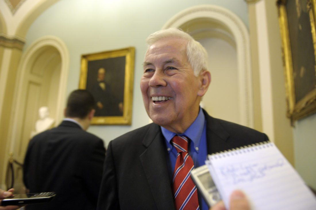 Sen. Richard Lugar, R-Ind., speaks with reporters on Capitol Hill in Washington, Sunday, July 31, 2011, as the debt showdown continues. (AP Photo/Susan Walsh)