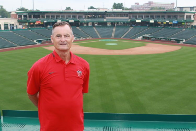 Parkview Field head groundskeeper Keith Winter stands beyond center field at Parkview Field. (Courtesy photo)