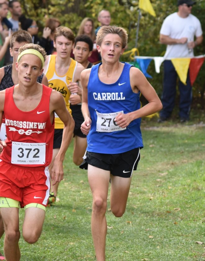 Carroll senior Connor Goetz maintains his pace during the New Haven semistate. (Photo courtesy Mindy Waldron)