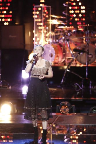 """Fort Wayne's Addison Agen, 16, got a standing ovation Tuesday night during her performance on """"The Voice"""" and then was selected by her coach, Adam Levine, as one of his three team members advancing to the live show competition beginning Monday. (Photo by: Tyler Golden/NBC)"""